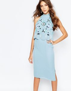 Image 2 ofFrock and Frill Embellished Scallop Overlay Pencil Dress With Open Back And Split