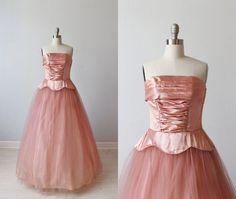 1950s Dress / Party Dress / Formal Dress / Strapless Dress / Cup Cake Dress / Prom Dress / Sugared Blush