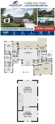 Full of outstanding curb appeal, Plan 2559-00893 details a Contemporary home design with 3,681 sq. ft., 3 bedrooms, 2.5 bathrooms, a kitchen island, an open floor plan, and a home office. #contemporaryhome #contemporarystyle #architecture #houseplans #housedesign #homedesign #homedesigns #architecturalplans #newconstruction #floorplans #dreamhome #dreamhouseplans #abhouseplans #besthouseplans #newhome #newhouse #homesweethome #buildingahome #buildahome #residentialplans #residentialhome Best House Plans, Dream House Plans, Contemporary House Plans, Flat Roof, Private Garden, Open Floor, Innovation Design, New Construction, Square Feet
