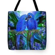 Tropic Spirits - Hyacinth Macaws Tote Bag by Carol Cavalaris