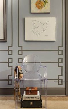 DIY-  Faux Paneled Rooms -use two colors of paint or if you're in a rental and can't paint, use washi tape for same effect.