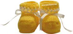 Tutorial: zapatitos con detalle en hilo para bebés de 0 a 3 meses tejidos en dos agujas o palitos!