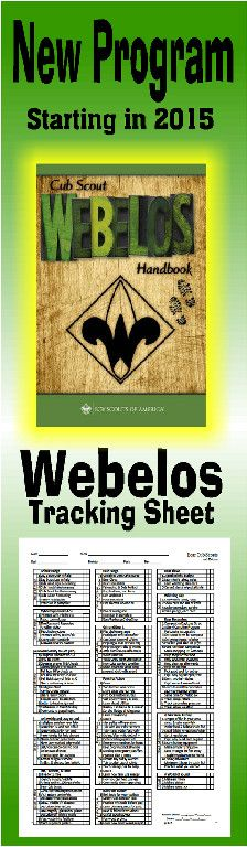 Need a way to track * WEBELOS and ARROW OF LIGHT requirements for the NEW Cub Scout Program? This is a great free PRINTABLE Tracking sheet for Organizing. This site has other tracking sheets and a lot of great Cub Scout Ideas compliments of Akelas Council Cub Scout Leader Training. Utah National Parks Council has planned this exciting 4 1/2 day Cub Scout Leader Training that covers lots of Cub Scout Info and Webelos Outdoor Experience, and much more. For more info go to AkelasCouncil.com