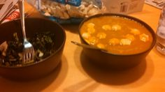 Carrot Ginger Soup and Cooked Kale salad with coconut chips