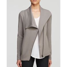 HELMUT LANG asymmetrical zip jacket in grey Sold out in stores and online! Would not sell but I wore it once and it is too small on me after having a baby. Bought 6 months ago and is now sold out! Size small. So unique and soft and amazing quality! Hesitant on even selling so price is very firm and no trading. Worth every penny. Comes with free gift! 🎉 Helmut Lang Jackets & Coats
