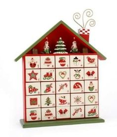 Delightful Wooden Christmas House Advent Calendar. Red & Green Hand Painted. New   eBay £29.99