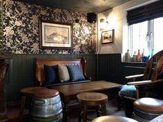 Quirky English Pub Interior. Firkin Barrel Stools. #pub