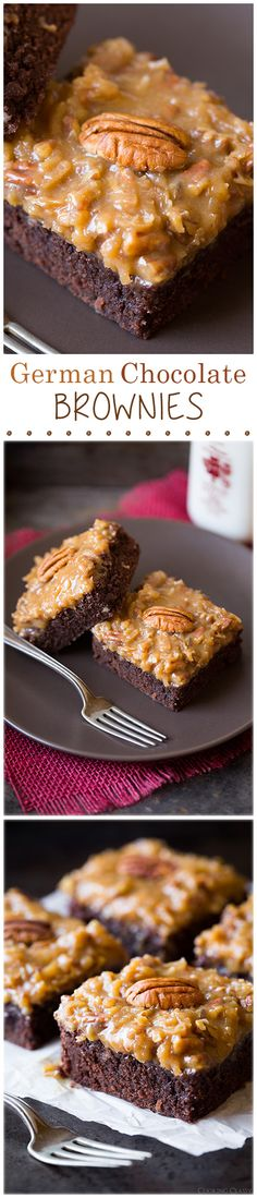 German Chocolate Brownies - they're even better than the cake, they're just totally irresistible! Dads favorite cake is German chocolate. Brownie Recipes, Cookie Recipes, Dessert Recipes, Yummy Treats, Sweet Treats, Yummy Food, Eat Dessert First, Dessert Bars, Fudge