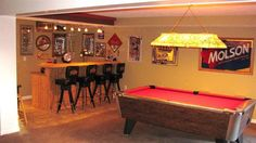 Decorating a Game Room Basement Bar Designs, Home Bar Designs, Basement Ideas, Game Room Bar, Game Room Decor, Man Cave Room, Man Cave Home Bar, Pool Table Room, Pool Tables