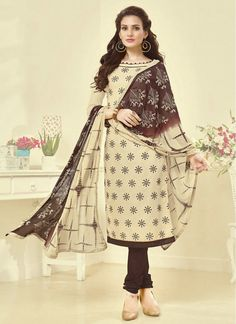 Lurid Cream and Brown Cotton   Indian Churidar Suit