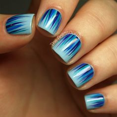 The Nailasaurus: Blue Waterfall Mani this is actually really simple. You can take an old blush brush or an old eye shadow brush (which might be better) and slightly dip it in the color of polish you want, and carefully spread over the nail.. do a trial and error because it might take a couple of times.