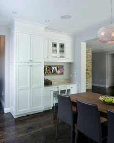 Love the pantry/desk option for the kitchen - would use a stool though rather than a chair