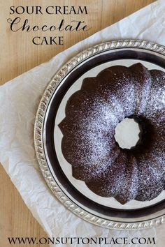 Sour Cream Chocolate Bundt Cake | So moist you don't need frosting! | An easy recipe from onsuttonplace.com