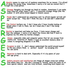 Asperger's...good to remember when working with ASD