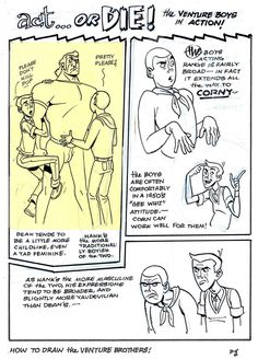 venture bros 2 by AlanSchell on DeviantArt Cartoon Art Styles, Cartoon Drawings, Drawing For Beginners, Beginner Drawing, Figure Drawing Tutorial, Sketch Poses, Morning Cartoon, Art Reference Poses, Drawing Reference