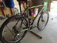 Ryan Trebon's Flash 29er. He's so tall he makes 29er wheels look small!