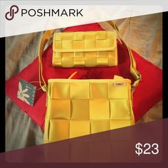 Amazing Yellow over the shoulder purse with wallet One of a kind Yellow belt purse with wallet. comely Other