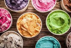 Picture of Array of different flavored colorful ice cream in plastic tubs displayed on an old wooden table at an ice cream parlor for delicious frozen snacks on a hot summer day stock photo, images and stock photography. Ice Cream Day, Ice Cream Parlor, Make Ice Cream, Homemade Ice Cream, Banana Split, Ice Cream Flavors, Ice Cream Recipes, Tapetes Diy, Ice Cream Images