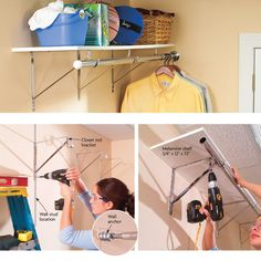 This project will save you hours of ironing and organizing. Now you can hang up your shirts and jackets as soon as they're out of the dryer—no more wrinkled shirts at the bottom of the basket. You'll also gain an out-of-the-way upper shelf to store all sorts of odds and ends. Just go to your home center and get standard closet rod brackets, a closet rod and a precut 12-in.-deep melamine shelf. Also pick up some drywall anchors, or if you have concrete, some plastic anchors and a…