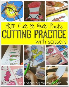 Cutting Practice with Scissors - FREE Cut it Out Packs from This Reading Mama