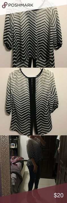 BCX black and white stripped dressy shirt (Macys) Black and white striped shirt. Perfect for a night out. Worn once, great condition BCX Tops Blouses