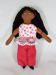 African American Doll - Girl In Pink & Red Clothes - Handmade Toy African American Dolls, Asian Doll, Collector Dolls, Gifts For Girls, Handmade Toys, Doll Clothes, Red, Pink, Baby Doll Clothes