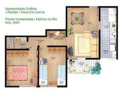 Planta baixa de pequeno apartamento de 2 quartos com móveis