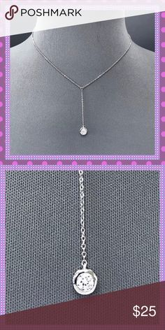 """💝STUNNING Silver Chain/Cubic Zirconia Pendant💝 💝STUNNING Dainty Silver Alloy Chain with gorgeous/sparkling Clear Cubic Zirconia Stone. Will look amazing with your Spring/Summertime apparel. Approx. 17"""" L, Lobster Claw Closure💝 Boutique Jewelry Necklaces"""