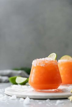 These Carrot Ginger Margaritas are a super fresh, zingy take on the classic margarita! They're made with a fresh carrot-ginger juice you make super quickly in the blender, and then it gets shaken up with Easy Margarita Recipe, Margarita Ingredients, Margarita Recipes, Juice Recipes, 3 Ingredients, Ginger Cocktails, Cocktail Recipes, Sweet Cocktails, Summer Cocktails