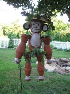 Pot monkey by Debbie .Als je potjes overhebt ,is dit een leuk idee.