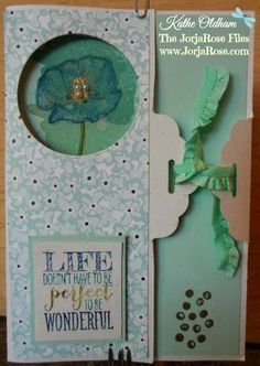 "By Kathe Oldham, for ""The JorjaRose Files"", featuring Stampin' Up! stamp sets ""Happy Watercolor"" and ""Perfect Pennants"". Added touches are the Gold Embossing Powder and sweet Pearls ..."