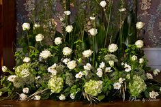 Landscape arrangement hydrangeas and roses Church Wedding Decorations, Flower Decorations, Wedding Church, Large Floral Arrangements, Church Flower Arrangements, Altar Flowers, Church Flowers, Flower Festival, Arte Floral