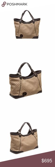 Gucci Beige Canvas Brown Leather Tote Shoulder Bag Overall hook clasp closure. Interior is fabric lined and contains side zipper pocket and two side slip pockets. Shop AUTHENTIC Gucci handbags at MARQUE SUPPLY COMPANY.  349 QC Gucci Bags Shoulder Bags
