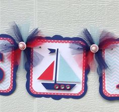 Nautical baby shower banner, polka dots, stripes, chevron, sailboat, it's a boy banner, etsy, handmade banner, nancysbannerboutique