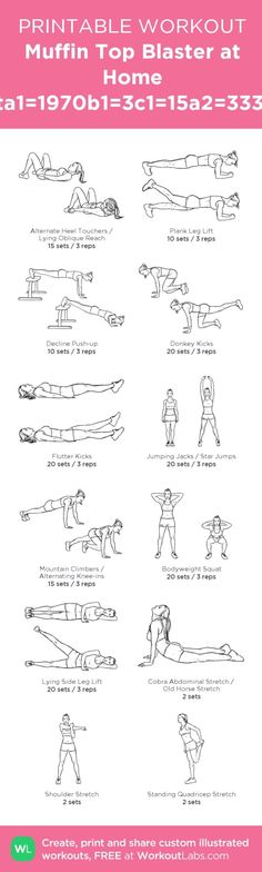 My personal ABS workout! Muffin Top Blaster at Home Workouta1=1970b1=3c1=15a2=3338b2=3c2 – my custom workout created at WorkoutLabs.com • Click through to download as printable PDF! #customworkout by lywhite
