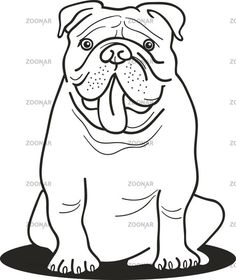 Bulldog Standing Near Its Bowl Patiently Coloring Page
