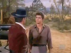 "Adam is thoroughly enjoying Little Joe's fight with Don Fernandez (Pernell Roberts; Michael Landon; ""The Dowry"", S03E31, 1962)"