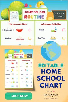 Easily make home school schedule daily routines for your kids with these colorful templates. Edit, print and display in your home classroom. Click to learn more. #homeschoolschedule #backtoschool #homeschoolprek #homeschoolclassroom #homeeducation #homeschoolscheduledailyroutines #inspiredprose #inspiredproseprintables After School Routine, School Routines, Daily Routines, Home School Schedule, Morning Activities, Home Activities, Homework Station, Do Homework, Routine Printable