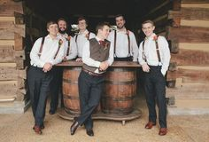 Love this casual groom and groomsmen attire for a rustic fall wedding. View more here! Pics by @leahbullard | The Pink Bride www.thepinkbride.com: