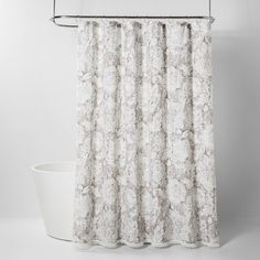 Jacobian Floral Print With Lace Trim Shower Curtain Gray - Threshold™ : Target Pretty Shower Curtains, Shower Curtain Rods, Grey Curtains, Shower Liner, Curtain Patterns, Jacobean, Bad, Lace Trim, Print Patterns