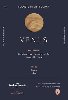 Venus Sign in Astrology - Planet Meaning, Zodiac, Symbolism, Characteristics Infographic - zodiac, astrology, horoscopes, magic, wicca, occult, witchy, witchcraft, pagan, shaman, magick, aries, taurus, gemini, cancer, leo, virgo, libra, scorpio, sagittarius, capricorn, aquarius, pisces