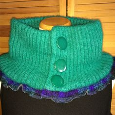"Cowl Loop Infinity Scarf Teal Blue Green Wool 26"" Shawl Wrap Collar Recycle Repurposed Accessories Vtg Sweater Chunky TurtleNeck Hood Snood by sweaterUP on Etsy"
