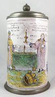 Sehr bedeutender alter Bierkrug Fayencekrug Luther Nürnberg Traumzustand 1730