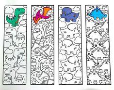 Cute Dinosaur Bookmarks - PDF Zentangle Coloring Page - One PDF coloring page of 4 bookmarks with different, cute dinosaur designs! Each bookmark is - Dinosaur Books For Kids, Cute Dinosaur, Dinosaur Party, Printable Coloring Pages, Colouring Pages, Zentangle, Dinosaur Pictures, Dinosaur Coloring, Dinosaur Design