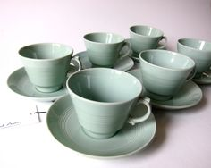 Woods Ware Beryl - Sage Green - Set 6 Tea Cups and Saucers.  Etsy.
