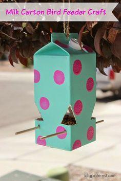 Recycled milk carton bird feeder