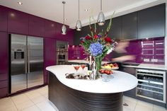 Access luxury kitchen design photo gallery from top interior designers. From custom made, modern and traditional find it all here - FREE! Purple Kitchen Decor, Purple Kitchen Designs, Kitchen Decorations, Kitchen Cabinet Colors, Kitchen Colors, Kitchen Ideas, Kitchen Inspiration, Kitchen Cabinets, Nice Kitchen