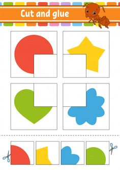 Cut and glue puzzle learning children game with colorful image of a raccoon eating an apple in a wood. wild animals educational activity for kids. Preschool Activity Books, Preschool Learning Activities, Color Activities, Preschool Activities, Educational Activities, Educational Websites, Visual Perceptual Activities, Learning Games, Kindergarten Math Worksheets