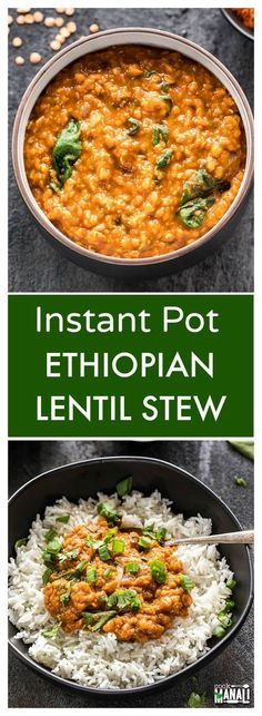 Ethiopian Lentil Stew made easy in the Instant Pot! Flavorful, spicy & comforting, this stew is also vegan & gluten-free and makes an easy weeknight meal!