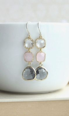 Blush Pink and Grey Earrings. Pink Opal, Clear, Grey Glass Gold Framed Dangle Earrings. Modern Everyday. Grey Pink Wedding, Bridesmaids Gift by Marolsha. https://www.etsy.com/listing/164607499/blush-pink-and-grey-earrings-pink-opal